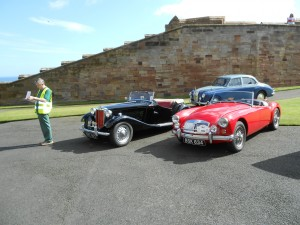 Ian Whyte checking cars at Bamburgh Castle