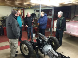 John Collins discussing TR6 chassis powdercoating
