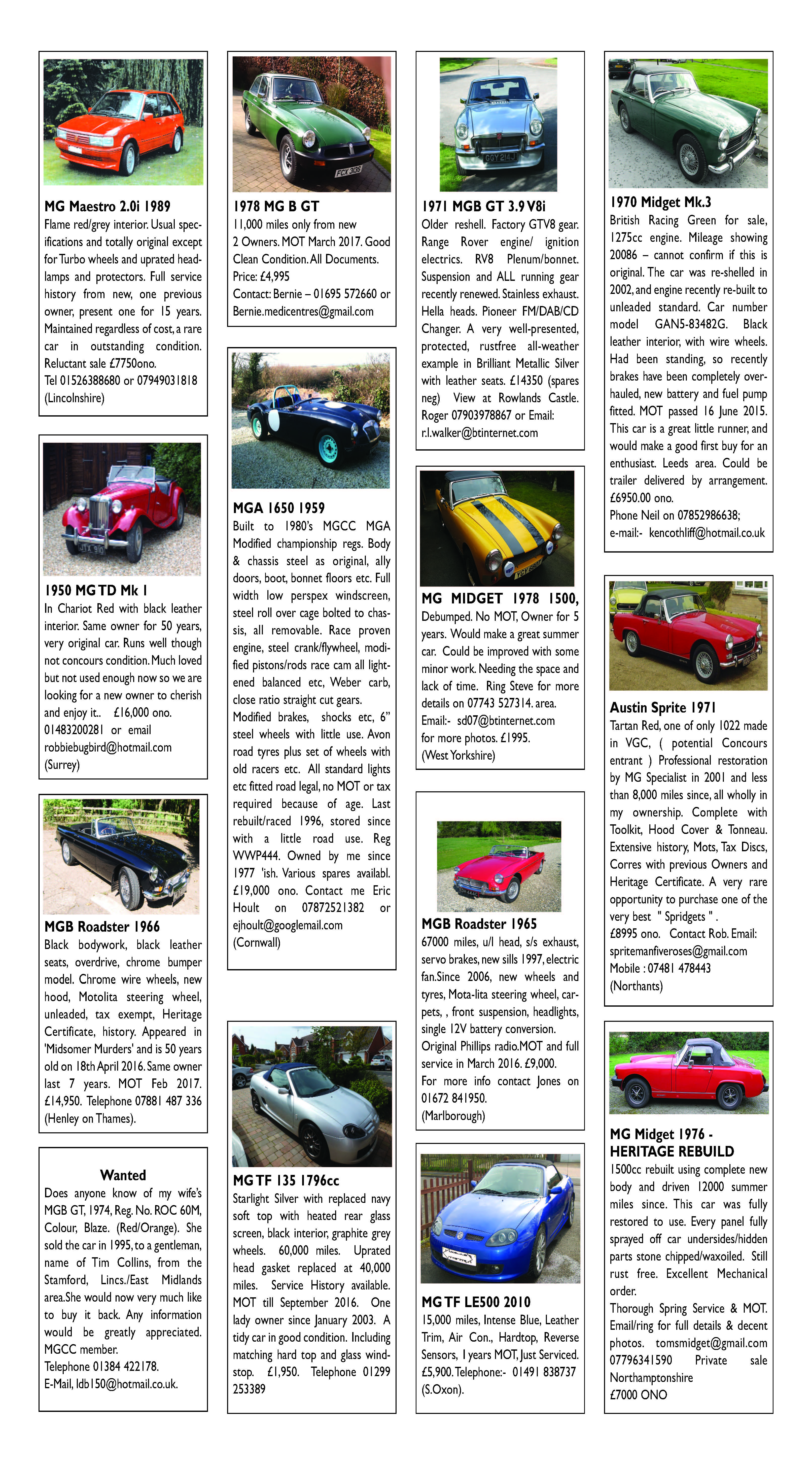 April 2016 Classifieds Page 1 Page 2 Mg Car Club
