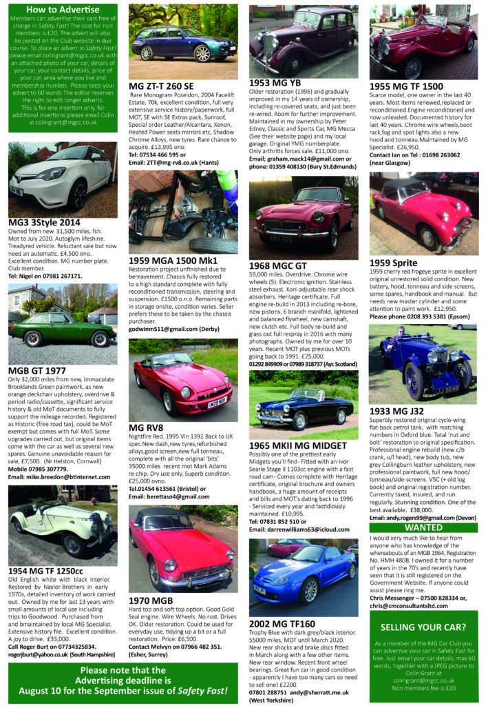 Cars For Sale - MG Car Club