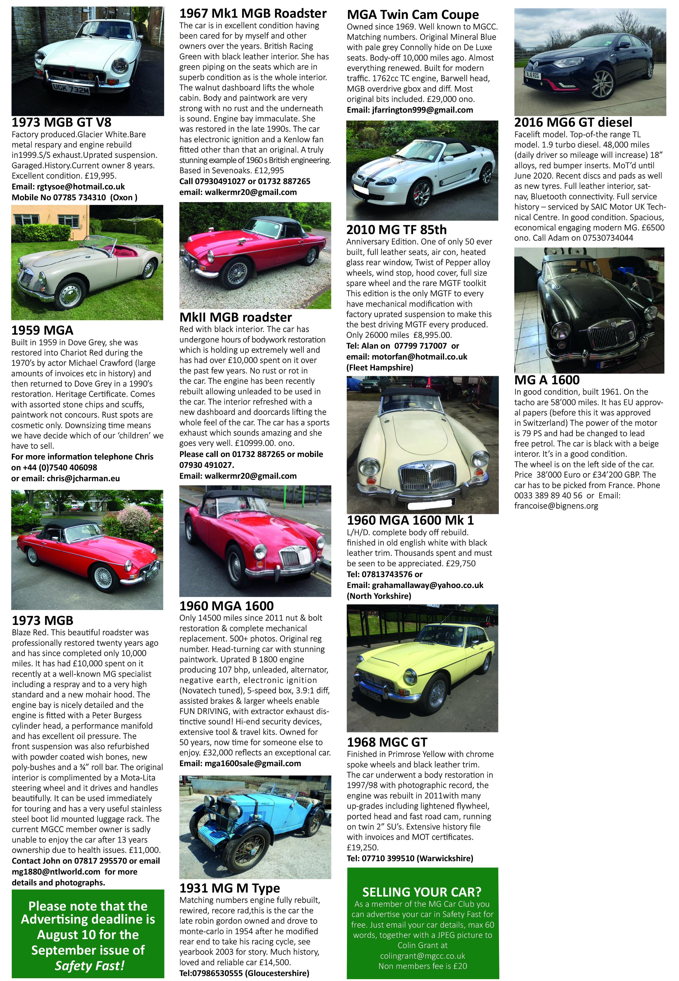 Cars For Sale Mg Car Club