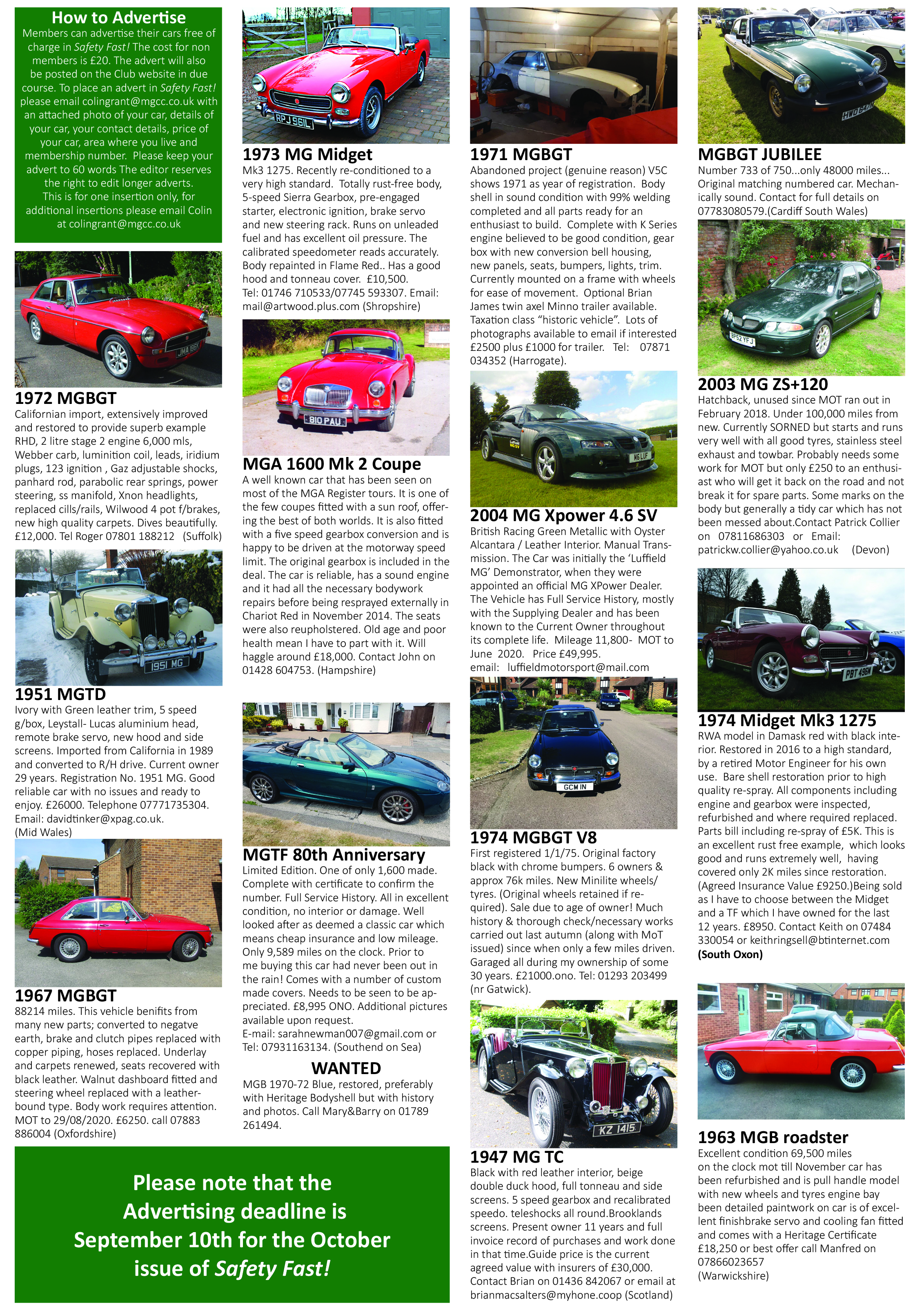 5 Miles Cars For Sale >> Cars For Sale Mg Car Club