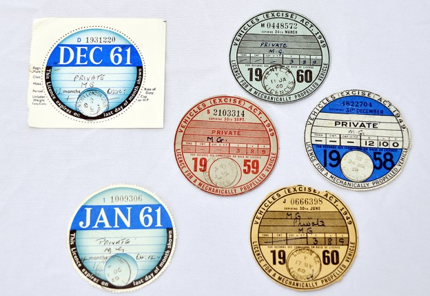 Selection of Tax discs from over the years