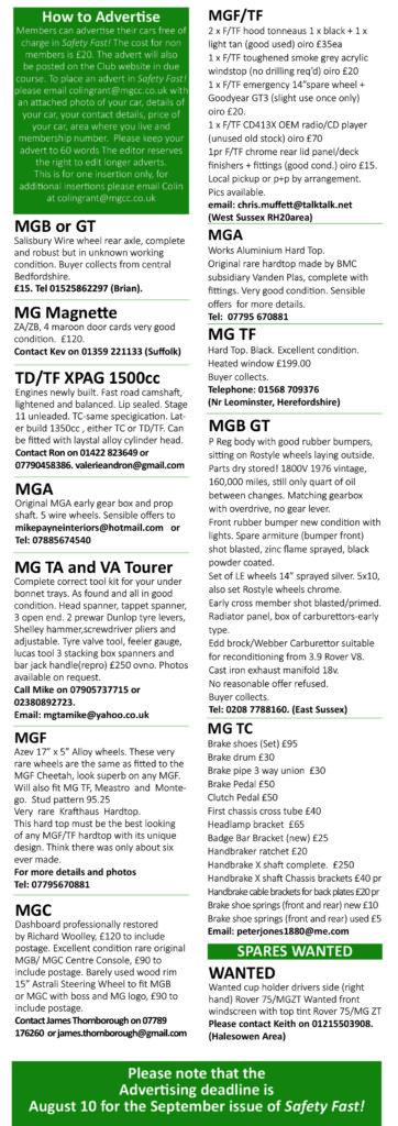 Parts For Sale - MG Car Club